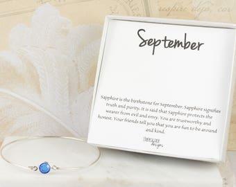 September Birthstone Sapphire Sterling Silver Bangle Bracelet, Sterling Silver Bracelet, Sapphire Bangle Bracelet #763