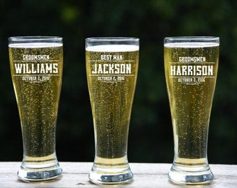 Wedding Party Gift,Beer Glass, Custom Pint Glass, Groomsmen Beer,  Personalized Pilsner Glasses, Etched Beer Glass, Suncoast Laser