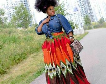 Get The Look - Peacock - Ankara African Print Daskhi Plus Size Maxi Skirt