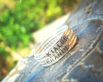 2mm Sterling Silver Stackable Name Rings, Stackable Mother's Rings, Layered Rings, Stackable Rings, Customized Rings, Name Rings Stackable