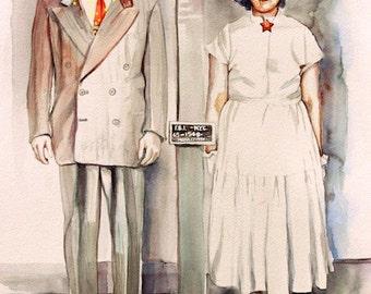 ART Ethel and Julius Rosenberg, 60 years since. Watercolor, 1950s historical art painting, custom portrait
