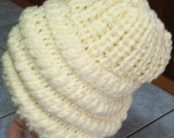 Cream - twisted Beanie and side beaded - handmade - one size
