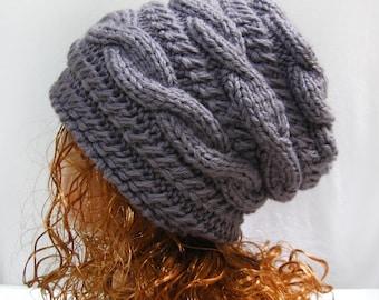 Knitting Pattern Hat Slouchy, PDF Knit Hat Pattern N39-1