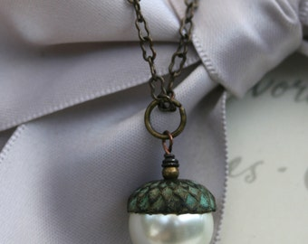 "Brass Acorn Necklace with 26"" chain Verdigris Patina with Pearl"