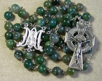 Catholic rosary for him in moss agate, gemstone rosaries