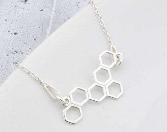 Sterling Silver honeycomb Necklace, honeycomb Pendant, honeycomb Chain, Silver honeycomb, honeycomb, daily necklace, bee honey