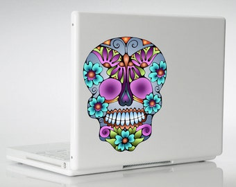 Day of the Dead Sugar Skull Vinyl Car Decal, Sticker Window Outside Waterproof Laptop Wall Small Purple Blue Butterfly Skulls Flowers Mac