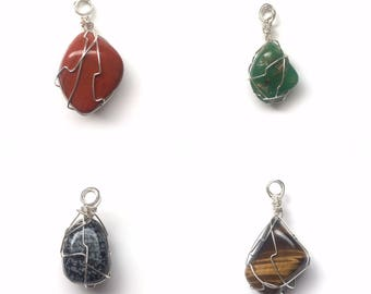 Wire-Wrapped Tumbled Crystal Necklaces