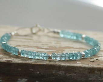 Blue Apatite Gemstone Bracelet Layering Tennis Style Bracelet Sterling Silver Nugget Accents Fine Gemstone Jewelry