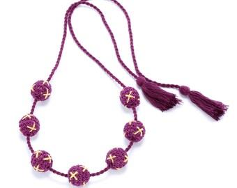 Cross-Stitch Crochet Bead Necklace - Eggplant Purple