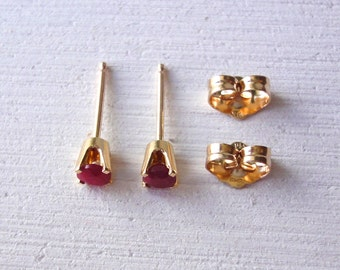 14K Gold Ruby Stud, Red Gemstone Earrings, July birthstone, Tiny ruby earrings