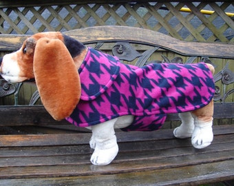 Navy and Pink Houndstooth Fleece Coat - Size Medium - 16 to 18 Inch Back Length