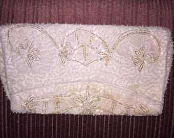 Vintage Beaded Ivory satin clutch purse
