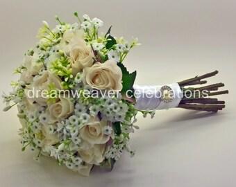 MATILDA. Silk Roses, Wedding and Bridal accessories, Silk flower Bouquet.