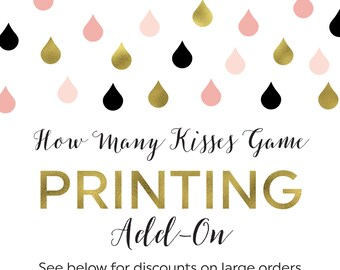 Printing Add-On for Kisses Guessing Game Cards and Sign