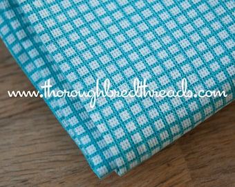 Cute Turquoise Checked- Vintage Fabric 32 in wide 50s Plaid Textured