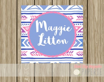 Personalized enclosure card, kids birthday tag, calling card, hang tag, birthday card, arrows, pink and purple, digital printable