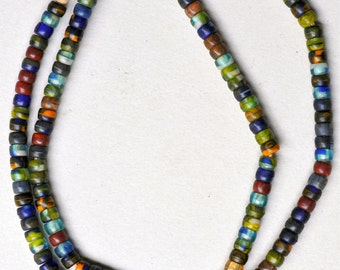6mm Vintage Czech Glass Kakamba Beads - African Trade Beads - 26 Inch Strand - Mixed Colors