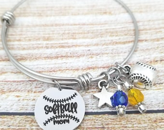 Softballl Mom Bangle Charm Bracelet, stainless steel, gift for sports mom, gift for her, jewelry for sports parents