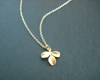14k Gold Filled chain - tiny leaf post necklace