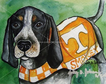 University of Tennessee Smokey Art Print // UT Vols Watercolor Painting // TN Volunteers Artwork