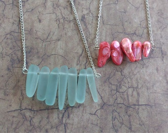 Pick your necklace Coral bar necklace crystal glass bar necklace