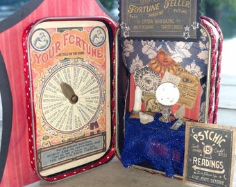 Altered Tin Fortune Teller Mixed Media art Psychic Circus