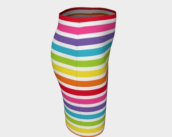 Rainbow skirt, Fitted skirt,  Rainbow pride skirt, funky skirt,