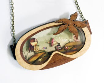 The Little Mermaid necklace. /  Natural Wood and inside 3D.