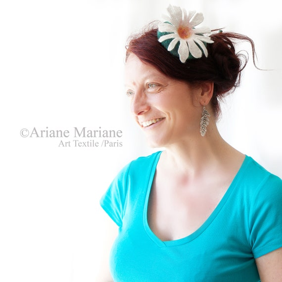 Hair Accessories, White Flower,  High Fashion Fascinator, Fiber Art to Wear, Top Hat for Tea Parties