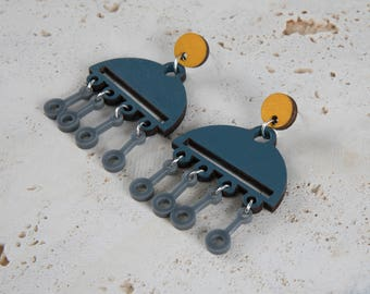 Mustard Yellow, blue wooden earrings