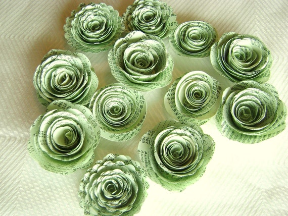 1 14 spiral paper flowers made from light mint green vintage atlas 1 14 spiral paper flowers made from light mint green vintage atlas index book pages or mint parchment paper wedding decorations from hbixbyartworks on mightylinksfo