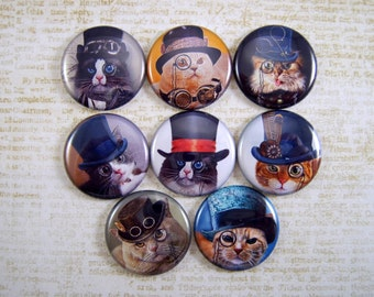 Cat Magnets Pins Steampunk Party Favors Gift Sets Fridge Refrigerator Magnets