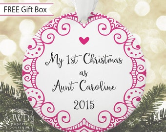Personalized Aunt Gift My First Christmas Ornament Aunt to Be Gift Auntie Gift  -  Item# VF1-A1-O
