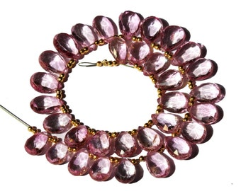 Genuine Pink Topaz Faceted Pear Briolette Size 11x7-13x9 mm Gemstone Briolette Semiprecious Beads B21