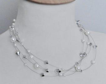 Wedding necklace pearls Swarovski crystals silver Bridal jewelry floating beads wedding jewellery ensemble Pearl Jewelry set glitter