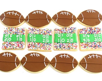 Football and Stadium Cookies | Football Party | Super Bowl Party | Football Party Favors | Football Coach Gift | One Dozen Cookies