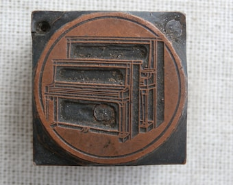 Old Vintage Piano Printers Block Letterpress Metal on Wood Collectible Craft Supply Shadowbox Decor Music Theme