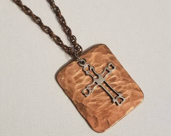Hammered Copper Necklace, Gentleman's Copper and Stainless Cross Necklace, Recycled Copper, Pendant, Chain, Gentleman's Necklace
