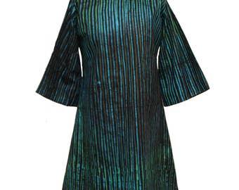 Tunic, Batik Tunic, African Fashion, Blue and Green tunic, African tunic, Adire Dress, Loose fit tunic top, Tunic dress, Striped dress