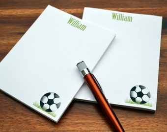 Personalized Notepads / Soccer Notepads /Personalized Notebook / Personalized Note Pads/ Set of Notepads /  Set of 2 Soccer Notepads