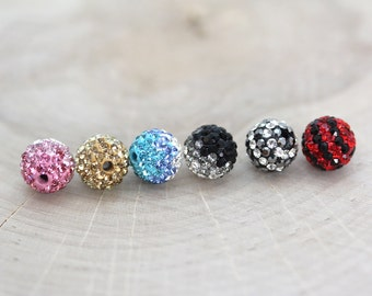 10mm Rhinestone Ombre and Striped Pave Clay Beads - 1 pair