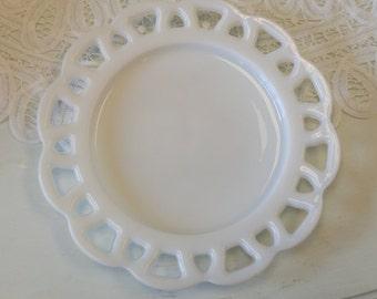 Vintage Milk Glass Pierced Lace Edge Plate!