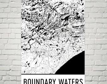 Boundary Waters Map, Boundary Waters Art, Boundary Waters Print, Boundary Waters Art Poster, Boundary Waters Wall Art, Gift, Modern, Art