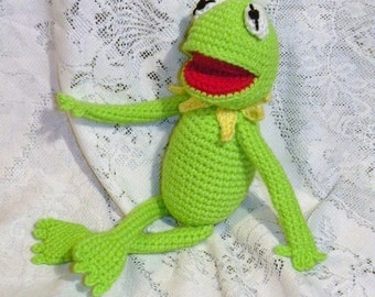 INSTANT DOWNLOAD - PDF Kermit the frog - 14 inches / 35 cm amigurumi doll crochet pattern