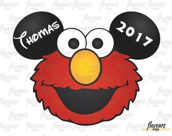Elmo Ears Inspired - Sesame Street - Disney Iron On Transfer - DIY Disney Shirts - INSTANT DOWNLOAD