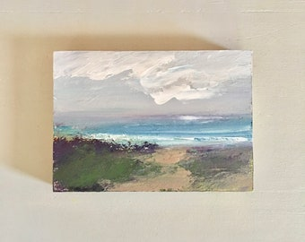 5 x 7  Beach with Path Painting -Original - Beach Art - Cradled Gesso Panel - 3/4 inch natural wood edge- Ready to Hang