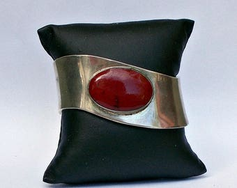 Sterling Silver and Red Turquoise Modernist Wavy Cuff Bracelet