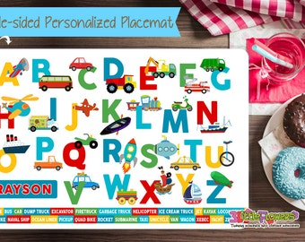 Personalized Transportation Alphabet Placemat - Personalized placemat for kids - Laminated Double-sided placemat - Kids Activity Placemat