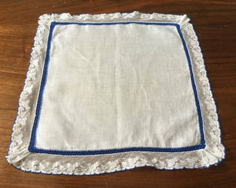 White Cotton Handkerchief with Blue Border and Lace Edging